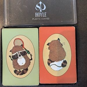 Hoyle Double Deck Playing Cards Tennis Raccoon VTG